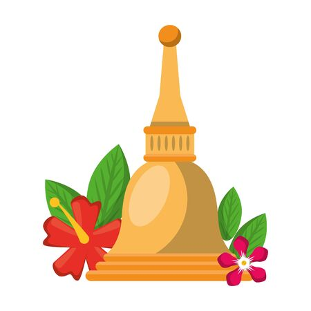 Ugadi bell offering with flowers symbols vector illustration graphic design