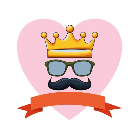 golden crown glasses and moustache icon cartoon with heart background and ribbon banner vector illustration graphic design Vectores
