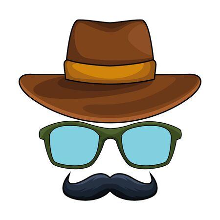 cappello da cowboy, occhiali e baffi travestimento icona fumetto illustrazione vettoriale graphic design Vettoriali