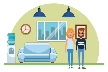 couple avatar man with beard and glasses and blonde woman profile picture cartoon character portrait indoor with couch, hanging lamps, window, water dispenser, and clock vector illustration graphic design