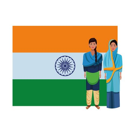 two indian women wearing traditional hindu clothes woman with braid woman with sari and hiyab and big indian flag behind profile picture avatar