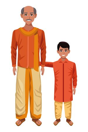 indian family man with moustache and bald next to young boy wearing traditional hindu clothes profile picture avatar cartoon character portrait vector illustration graphic design