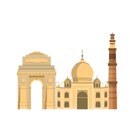 Indian patriotic emblems cartoons gateway taj mahal and tower isolated vector illustration graphic design