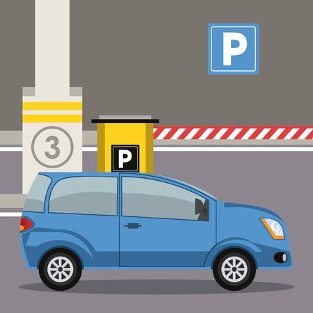 Auto parcheggiata nel parcheggio con parchimetro al design grafico dell'illustrazione vettoriale della città Vettoriali