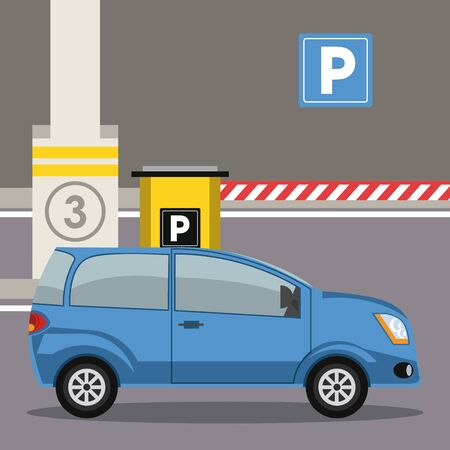 Car parked in lot with parking meter at city vector illustration graphic design Vetores