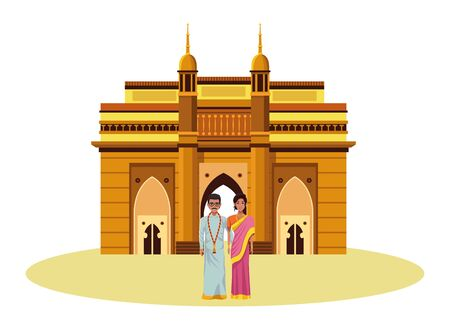 indian couple wearing traditional hindu clothes man with moustache and glasses woman with sari and jewelry and indian monument charminar