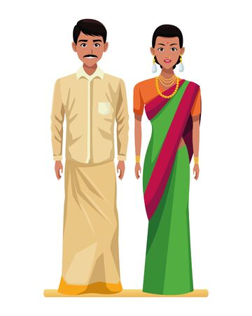 indian couple wearing traditional hindu clothes man with moustache and woman wearing sari and jewelry profile picture avatar cartoon character portrait vector illustration graphic design