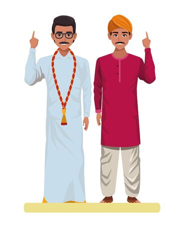 two indian men wearing traditional indian clothes man with moustache and glasses man with moustache and turban profile picture avatar Illustration