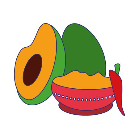 Ugadi festival offering flowers pot with avocado and chilli cartoons vector illustration graphic design Ilustração