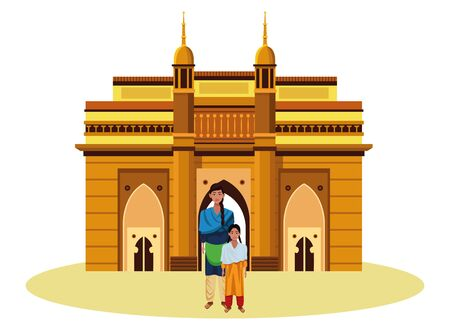 indian family woman with braid young girl with sari and indian monument charminar behind profile picture avatar cartoon character portrait vector illustration graphic design Vetores