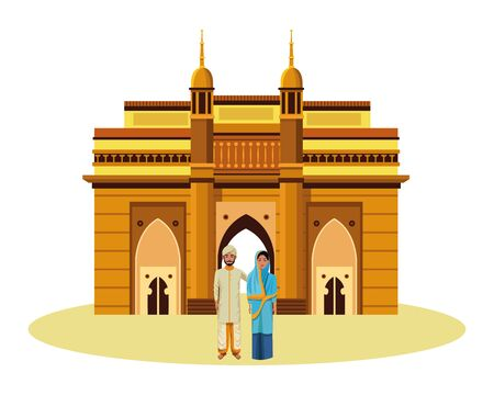 indian couple wearing traditional hindu clothes man with beard and turban woman with sari and hiyab and indian monument charminar behind profile