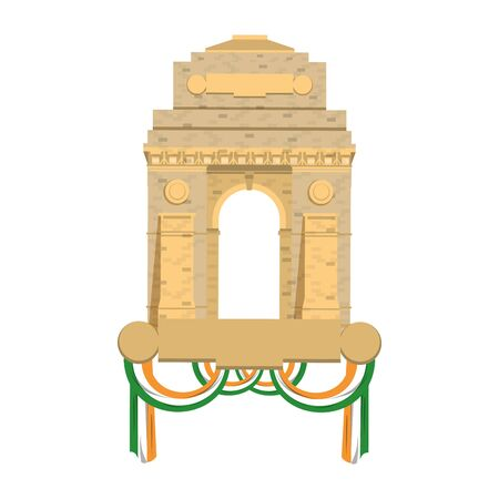 Indian gateway monument with flags symbol vector illustration graphic design Ilustração
