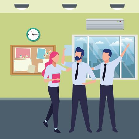 three businesspartners working with office supplies inside office with windows and corkboard scenery, vector illustration.