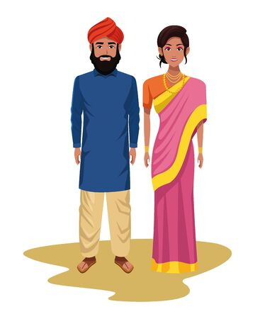 indian couple wearing traditional hindu clothes man with beard and turban and woman wearing sari and jewelry profile picture 矢量图像