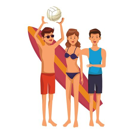 Friends enjoying summer in swimsuit with surf table isolated vector illustration graphic design Vectores
