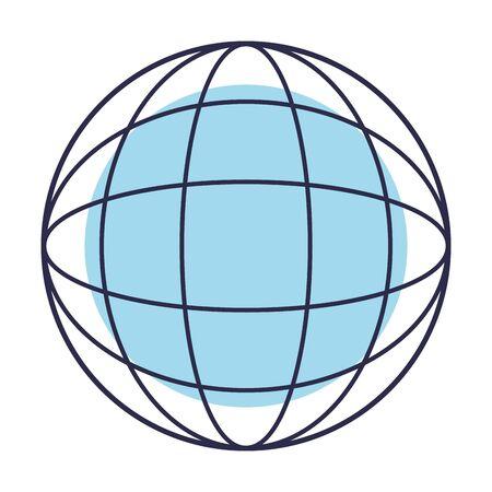 figura astratta di un globo basato su linee e un disegno grafico di illustrazione vettoriale di base Vettoriali