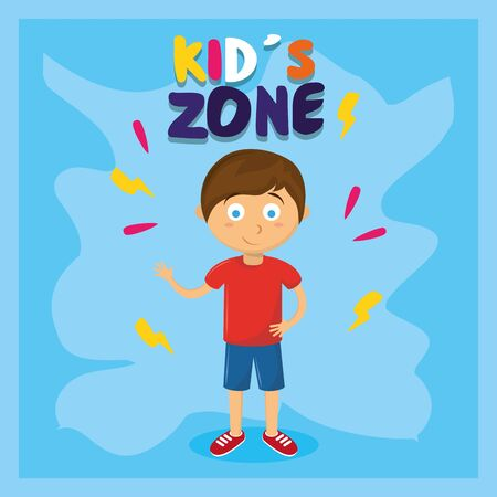 kids zone children entertaiment boy standing saying hi with blue background vector illustration graphic design  イラスト・ベクター素材