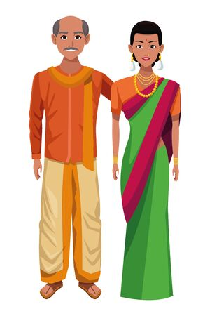 indian couple wearing traditional hindu clothes man with moustache and bald woman with sari and jewelry profile picture avatar cartoon character portrait vector illustration graphic design
