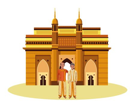 two indian men wearing traditional indian clothes man with moustache and bald man with moustache and indian monument charminar behind profile