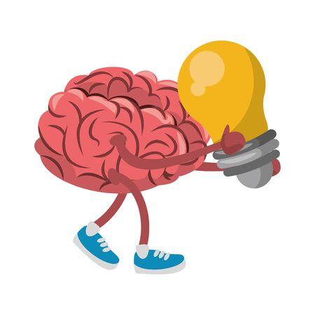 Cerveau avec des chaussures et ampoule lumière cartoon vector illustration graphic design Vecteurs