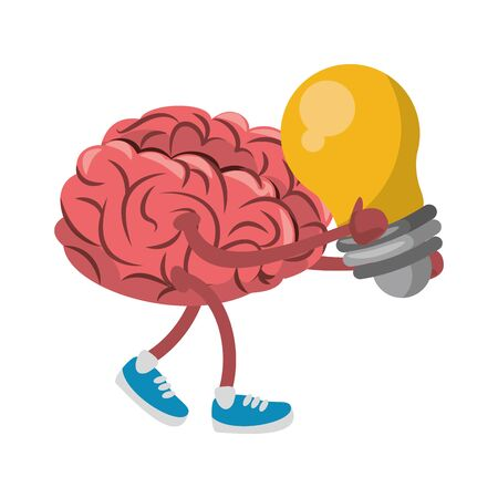 Brain with shoes and bulb light cartoon vector illustration graphic design