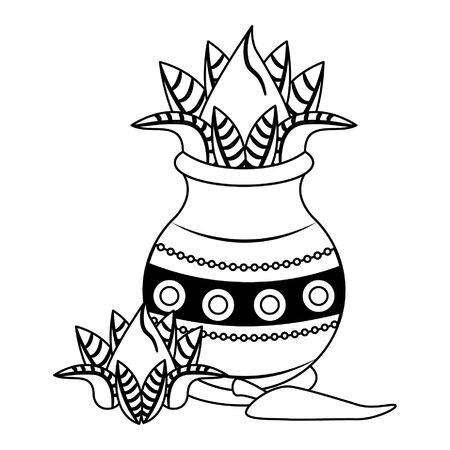 Ugadi festival offering flowers pot with chilli cartoons vector illustration graphic design