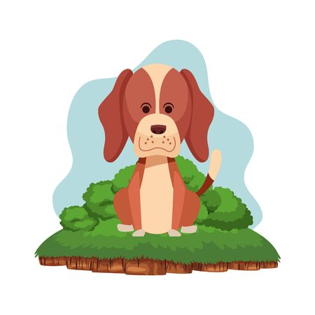 cute dog sitting icon cartoon portrait brown in a piece of ground with shrubbery