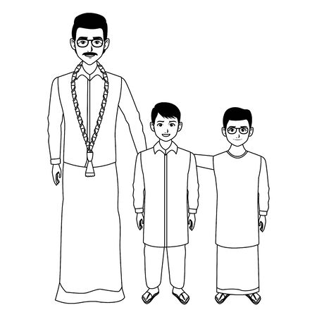 indian family man with moustache, glasses and a big necklace next to two young boys with glasses and skirt wearing traditional hindu clothes profile picture avatar cartoon character portrait in black and white vector illustration graphic design