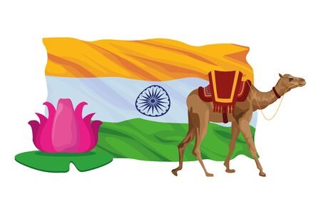 camel with saddlery, lotus flower and a indian flag behind icon cartoon vector illustration graphic design