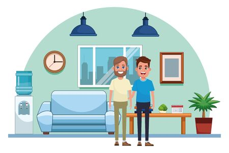 avatar men avatar man with beard and young man smiling profile picture cartoon character portrait indoor with couch, hanging lamps, window, water dispenser, and clock vector illustration graphic design 矢量图像