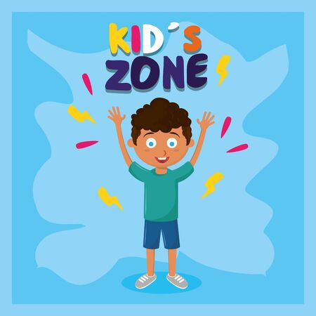 kids zone children entertaiment afroamerican boy standing with hands up with blue background vector illustration graphic design  イラスト・ベクター素材