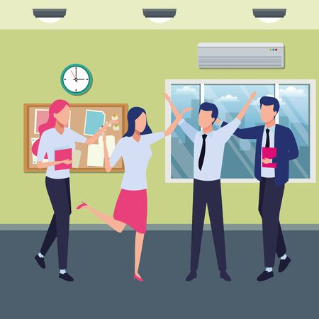 Four business partners working with office supplies inside office with windows and corkboard scenery, vector illustration. Illustration