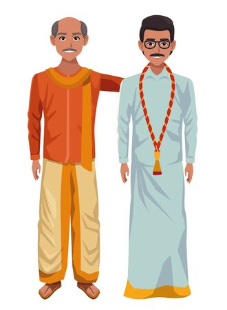 two indian men wearing traditional hindu clothes man with moustache and glasses and man with moustache and bald