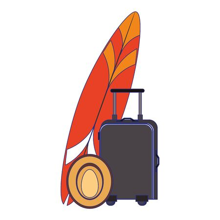 Summer and beach vacations surf table luggage and hat cartoons vector illustration graphic design Vectores
