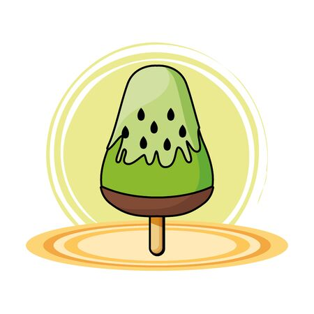 Kiwi ice cream food on round base vector illustration graphic design