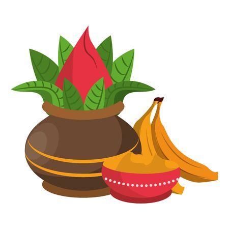 Ugadi festival offering flowers pot bananas and powder cartoons vector illustration graphic design Ilustração