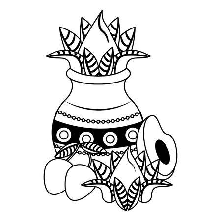 Ugadi festival offering flowers pot with mangos and avocado cartoons vector illustration graphic design Ilustração