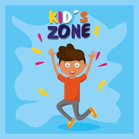 kids zone children entertaiment afroamerican boy jumping with hands up with blue background vector illustration graphic design