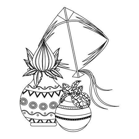 Ugadi indian celebration emblems lotus jars and kite cartoons vector illustration graphic design