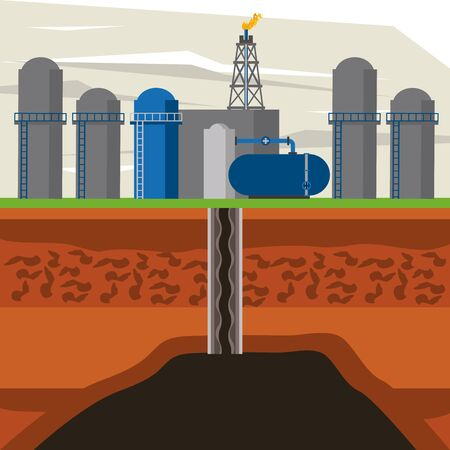 Fracking zone, oil pump with tank extracting petroleum from suboil with pipes. vector illustration graphic design Иллюстрация