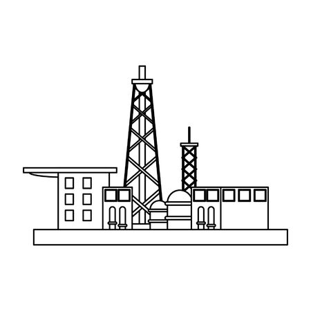 Petroleum oil refinery plant with pump machinery vector illustration graphic design