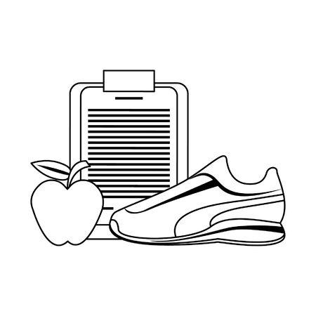 Fitnessgeräte Workout Gesundheit und Logbuch Apfel mit Tennissymbolen Vektor-Illustration Grafikdesign