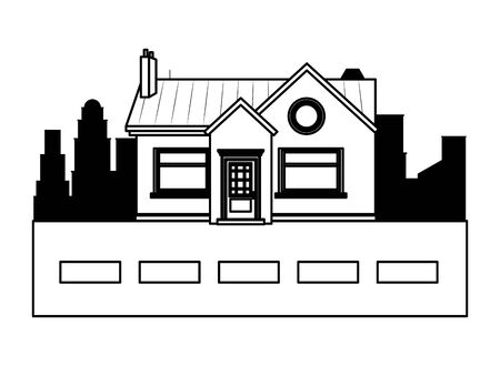 house building in front of a street and cityscape silhouette icon cartoon in black and white vector illustration graphic design Stock Illustratie