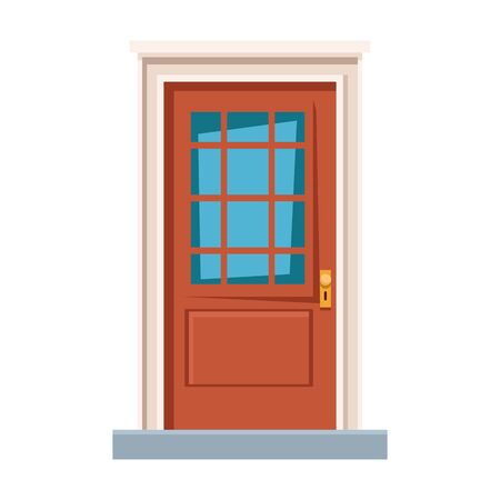 front door house entrace icon cartoon vector illustration graphic design Stock Illustratie