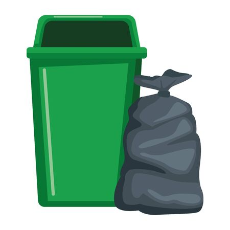 garbage can and bag icon cartoon vector illustration graphic design Çizim