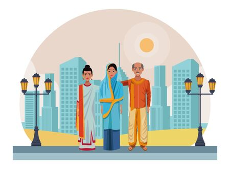 group of indian indian wearing traditional hindu clothes woman with hiyab, woman with sari and big earrings and man with moustache and bald wearing traditional hindu clothes profile picture avatar cartoon character portrait outdoor over the sand in the desert and cityscape with skyscraper vector illustration graphic design