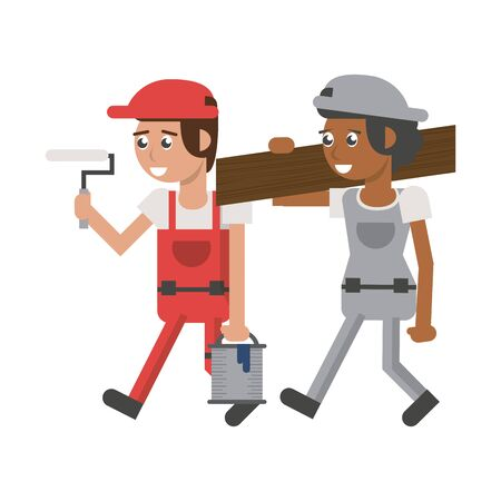 Construction workers holding paint bucket and wooden plank vector illustration graphic design