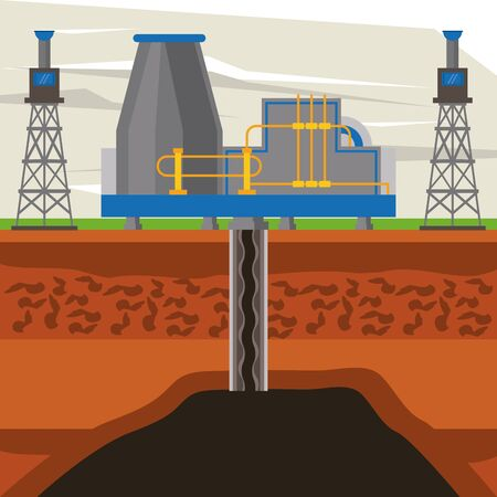 Fracking zone, oil pump with tank extracting petroleum from suboil with pipes. vector illustration graphic design Stock Illustratie