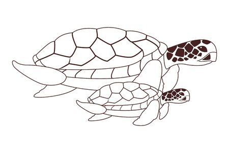 two sea turtle swimming together icon cartoon in black and white vector illustration graphic design