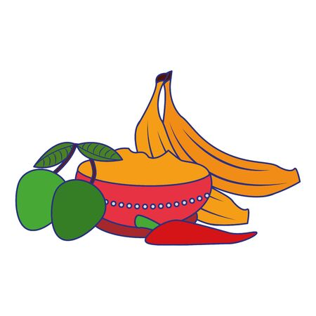 Ugadi festival offering flowers pot with bananas mango and chilli cartoons vector illustration graphic design